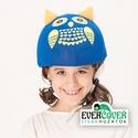 Kék bagoly sisakhuzat gyerekeknek, XS-M bukósisakokra tervezve, Ruha, divat, cipő, Gyerekruha, Gyerek (4-10 év), Kendő, sál, sapka, kesztyű, KÉK BAGLYOS sisakhuzattal vidámmá varázsolhatod gyermeked bukósisakját! Rugalmas elasztikus anyagból..., Meska
