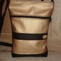 Bronz fekete táska , Táska, Válltáska, oldaltáska, 24 cm széles 29 cm magas fekete és világos bronz színű textilbőr felhasználásával készült..., Meska