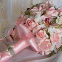Rózsaszín Álmok-menyasszonyi csokor 10 % kedvezménnyel, Klasszikus kerek csokor,nem hagyományos megoldás...