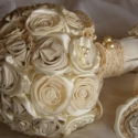 Csipkerózsika álma menyasszonyi csokor , Esküvő, Esküvői csokor, Esküvői dekoráció, Megrendelésre készítettem a menyasszony ruhájának anyagából, csipkéből, szaténból, héjrózsából. Félg..., Meska