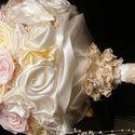 Pastel Rose menyasszonyi csokor,tartós virágokból, Esküvő, Esküvői csokor, Esküvői dekoráció, Hajdísz, ruhadísz, Ez a virágcsoda szaténból,organzából és pamutcsipkéből született meg. Gyönyörű pasztell ..., Meska
