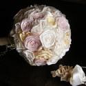 Pastel Rose menyasszonyi csokor,tartós virágokból, Esküvő, Esküvői csokor, Esküvői dekoráció, Hajdísz, ruhadísz, Ez a virágcsoda szaténból,organzából és pamutcsipkéből született meg. Gyönyörű pasztell színeit , ek..., Meska