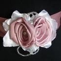 Mályva-fehér öv rózsákkal, Szaténból készítettem a virágokat és a level...