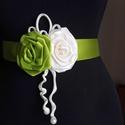 Krém-zöld díszöv esküvőre, Megrendelésre készült,szaténból üde zöld-kr...