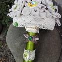 Lenvászon virág csokor, Otthon & lakás, Esküvő, Dekoráció, Esküvői csokor, Esküvői dekoráció, Apró,csillagvirágokat varrtam a csokorhoz,a porzókat fa gombok alkotják.A lenvászon natúr és barna p..., Meska
