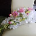 Frézia-lizike menyasszonyi csokor, Esküvő, Otthon & lakás, Esküvői csokor, Dekoráció, Nyújtott formájú, elegáns csokor amelyet selyemvirágokból kötöttem. Üde fehér fréziák tömege, rózsas..., Meska
