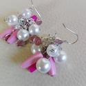 Fürtös fülbevaló , Esküvő, Ékszer, Esküvői ékszer, Fülbevaló, Esküvőre menyasszonynak vagy koszorúslánynak,vagy alkalmi ruhához ajánlom. Tekla, rózsaszín-pink akr..., Meska