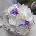 Bieder Lavender menyasszonyi csokor, Szatén , kézzel készített esküvői csokor. Re...