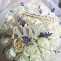 Rózsabox, esküvői szülő köszöntő , Levendula hangulatban készült, ekrü habrózsák...