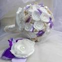 """Bieder Lavender Menyasszonyi csokor, Esküvő, Esküvői csokor, Hajdísz, ruhadísz, Esküvői dekoráció, Megrendelésre készült,""""levendula hangulatban"""" egy bieder csokor. Tömör,kerek bokréta szaténból és cs..., Meska"""