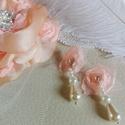 Shabby chic esküvői fátyol és fülbevaló, Esküvő, Esküvői ékszer, Hajdísz, ruhadísz, Menyasszonyi ruha, Kis kalitka fátyol, fejdísszel. Szatén , bross virág, barack színű szaténból. Stílusos fülbevaló is ..., Meska