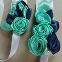 Esküvői öv, menta és kék, Rendelésre készült termék.  Szatén öv, kézm...