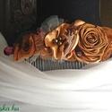 Őszi Sikk Hajdísz Rózsákkal, Esküvő, Táska, Divat & Szépség, Hajdísz, ruhadísz, Hajbavaló, Ruha, divat, Konty fésűre szatén és organza rózsákból készítettem díszítést.Hangulatos barna árnyalatok,szerintem..., Meska