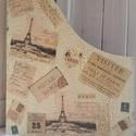 Fa irattartó, festett, vajszínű, Eiffel toronnyal, Párizs felirattal, bélyegekkel díszítve, Dekoráció, Otthon, lakberendezés, Tárolóeszköz, Doboz, Decoupage, transzfer és szalvétatechnika, Festett tárgyak, French Country & Vintage Costume-Designed Handmade Limited furnishings! All unique and one-off! Fes..., Meska