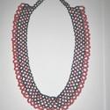 Gyöngy nyaklánc, Ékszer, óra, Nyaklánc, Gyöngy nyaklánc.Színe fekete és világos barna. Hossza 45 cm, szélessége 2 cm. Alkalmi viselet..., Meska