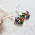 Szivárványszív fülbevaló, Vitrail medium színű romantikusan szerelmes fül...