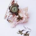 Fehér szitakötő karóra/ékszeróra, Különleges óra réz színű foglalatban fehér ...