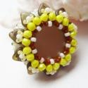 Hessa gyűrű, Ékszer, Gyűrű, Toho háromszög és kása gyöngyből, valamint cseh csiszolt gyöngyből készítettem el ezt a gyűrűt, a na..., Meska