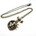 Madárfészek nyaklánc, Kis madárfészek medálkát tettem réz színű 4...