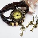 Barna kulcs karóra/ékszeróra, Különleges óra réz színű foglalatban barna s...