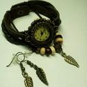 Barna levél karóra/ékszeróra, Különleges óra réz színű foglalatban barna s...