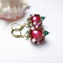 Romantikus fülbevaló, Emerald, rózsaszín, beige és bronz... igazán e...