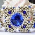 Mathilda, Ékszer, Karkötő, 14mm-es rivoliból, matt ezüst színű toho gyöngyből és 3mm-es kék bicone gyöngyből valamint 6mm-es ké..., Meska