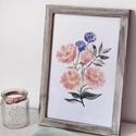 Rózsák • digitális nyomat (A4), Dekoráció, Kép, Dísz, •  DIGITÁLIS NYOMAT   Méret: A4 - 29.7cm x 21cm  Grafika: Egy-egy kézi rajzom digitális nyomat..., Meska