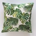 Pálmaleveles, trópusi, dzsungeles díszpárnahuzat , LEÍRÁS • szín: fehér/zöld - mindkét oldalo...