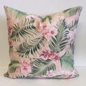 Orchideás, pálmaleveles, pink trópusi díszpárnahuzat (45x45cm), Otthon & lakás, Szerelmeseknek, Ünnepi dekoráció, Dekoráció, Lakberendezés, Lakástextil, Párna, LEÍRÁS • mindkét oldalon ugyanaz az anyag - a minta elhelyezkedése változó • méret: 45x45cm • anyag:..., Meska