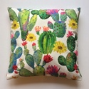 Kaktuszos, virágos, nyári hangulatú díszpárnahuzat (45x45cm), LEÍRÁS • szín: fehér/zöld - mindkét oldalo...