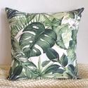 Trópusi, pálmaleveles díszpárnahuzat, kerti dekorpárna (40x40cm), LEÍRÁS • szín: fehér/zöld - mindkét oldalo...