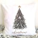 Fenyőaf, Karácsonyfa mintás karácsonyi díszpárna Christmas felirattal, vintage stílusú mintával, huzat + belső párna, Otthon & lakás, Dekoráció, Ünnepi dekoráció, • KÉZZEL KÉSZÍTETT DÍSZPÁRNA EGYEDI NYOMATTAL   TERMÉKLEÍRÁS: • belső párna + levehető huzat alul zi..., Meska