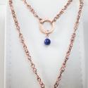 Lazurit réz nyaklánc, lápisz lazuli vörösréz nyaklánc, egyedi, kézműves drótékszer, réz ékszer, dupla lánc,kék, sötétkék, Ékszer, Nyaklánc, Lazurit réz nyaklánc, lápisz lazuli vörösréz nyaklánc, egyedi, kézműves drótékszer, réz ..., Meska