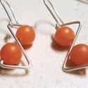 Narancs kalcit fülbevaló, ezüstözött drót, kézműves, trendi, ásványgyöngy, Ékszer, Fülbevaló, Narancs kalcit fülbevaló, ezüstözött drót, kézműves, trendi, ásványgyöngy.  Z alakú mode..., Meska