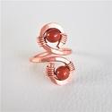 Vörösréz gyűrű,kézműves,drótékszer,ásvány ékszer, vörös jáspis ásványgyöngy,állítható,kalapált, Ékszer, Gyűrű, Vörösréz gyűrű, kézműves, drótékszer, ásványékszer,vörös jáspis ásványgyöngy, áll..., Meska