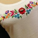Kalocsai, egyedileg tervezett női póló, Magyar motívumokkal, Ruha, divat, cipő, Női ruha, Felsőrész, póló, Hímzés, Kalocsai mintával díszített, gépi hímzéssel készült női póló, 100 % pamut alapanyagból, nőies fazon..., Meska