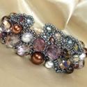 Autumn freeze - aszimmetrikus gyöngy karkötő, Különféle méretű ezüstszürke és lila csisz...