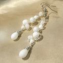 Fehér gyöngyös drótékszer fülbevaló - SALE