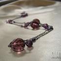 Lila kristály gyöngyös hosszú drótékszer nyaklánc, Ékszer, óra, Nyaklánc, Ametiszt lila csiszolt kristály gyöngyökkel, csepp alakú gyöngyökkel, különböző méretű és árnyalatú ..., Meska