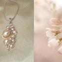 Púderrózsaszín gyöngyös drótékszer nyaklánc, Többféle méretű és árnyalatú púderrózsasz...