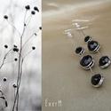 Trio dots fekete gyöngyös drótékszer fülbevaló, Ékszer, Fülbevaló, Ezüstözött ékszerdróttal tekert, 4, 6 és 8 mm-es fekete cseh csiszolt gyöngyök felhasználásával kész..., Meska