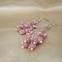Rózsaszín rhodonit fürtös fülbevaló, Ékszer, Fülbevaló, Ezüstözött fülbevaló rózsaszín rhodonit ásvány gyöngyökkel és apró márványos üveggyöngyökkel.  - ezü..., Meska