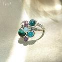 Ásvány gyöngyös állítható drótékszer gyűrű, Ékszer, Gyűrű, Zöld tigrisszem, karibi kék achát, zöldeskék krizokolla, lila ametiszt és opálkék üveggyöngy felhasz..., Meska