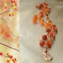 Vörösréz karkötő narancs acháttal és karneollal , Narancs árnyalatú fazettált acháttal, karneol ...