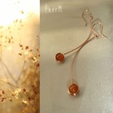 Orange arch - Narancs achát vörösréz íves fülbevaló, Ékszer, Fülbevaló, 6mm-es narancs-barna achát ásvány gyöngy hosszú ívelt dróton, vörösréz ékszerdróttal körítve. Az aka..., Meska