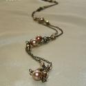 Drapp-sárgaréz hosszú nyaklánc, Drapp és bronz színű cseh csiszolt, kerek, kás...