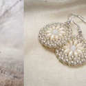 Ekrü-ezüst kis kerek gyöngy fülbevaló, Ekrü színű cseh superduo gyöngyökből, matt e...