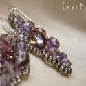 Purple leaf - lila levél, gyöngy fülbevaló, gyöngyékszer, Ékszer, Fülbevaló, Lila árnyalatú cseh csiszolt gyöngyökből és ezüstszürke kásagyöngyökből készült fülbevaló. - damilra..., Meska