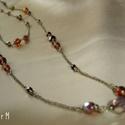 Barna gyöngyös, kétsoros sárgaréz nyaklánc, Ékszer, Nyaklánc, Barna és bronz árnyalatú, többféle méretű, formájú kerek és csiszolt üveggyöngyökből, üvegtekla gyön..., Meska